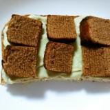 抹茶アイスと焼きチョコバームクーヘンのトースト