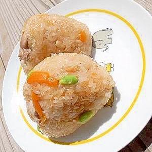 活力鍋で☆鶏と枝豆のおこわ
