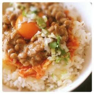 発酵パワー!キムチ&チーズ no 納豆丼♪