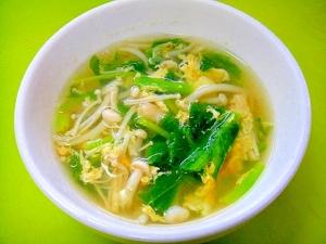 からし菜とえのきのかき玉コンソメスープ