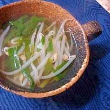 もやしとニラの中華スープ