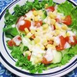 胡瓜、トマト、コーンの塩ドレヨーグルトサラダ