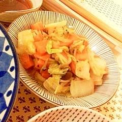 白菜、しめじ、人参のオイスターソース蒸し