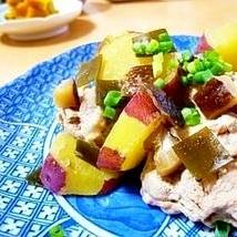 昆布と椎茸の旨みで☆豚もも肉とサツマイモの煮物