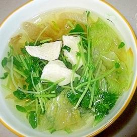 豆苗とレタスのスープ