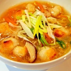 豚こま肉と揚げ餅の野菜たっぷり中華スープ