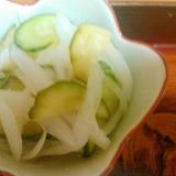 キュウリと新玉ねぎのレモンりんご酢和え