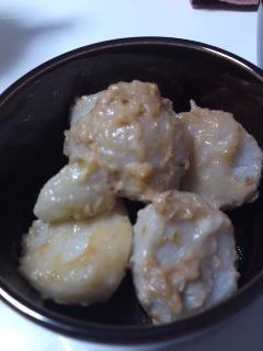 タジン鍋で♪蒸かしサトイモの生姜マヨ和え