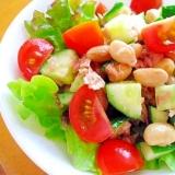 大豆ときゅうりとミニトマトとツナのサラダ