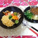 艶やかな野菜だけのカレー、コーンな感じ(*^^)v
