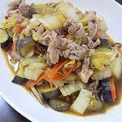 茄子&白菜と豚肉のピリ辛味噌和風炒め