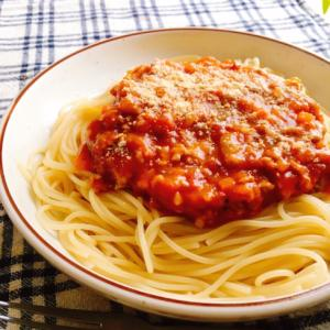 隠し味に醤油!トマトたっぷりミートソーススパゲティ