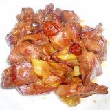 鶏レバーと長ねぎの焼き肉たれ炒め
