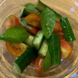 朝採れトマトとキュウリのサラダ☆