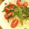 ミニトマトと大葉ともやしの醤油あえ