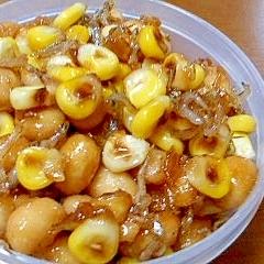 大豆とじゃことコーンの甘辛炒め