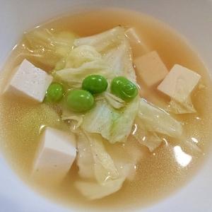 白菜、豆腐、枝豆の韓国風スープ