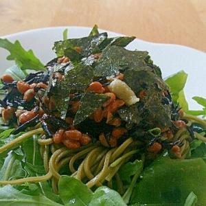 海草と納豆たっぷり!ヘルシー蕎麦サラダ