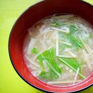 切り干し大根えのき水菜の味噌汁