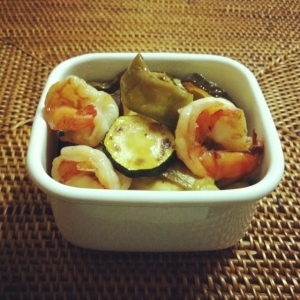 夏野菜と海老の甘酸っぱいタレ漬け