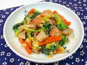 青菜(ターサイ)とエビ・豚肉の卵炒め