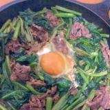 牛肉とほうれん草焼き肉のたれ炒め
