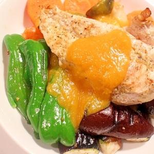 1皿で満腹♪グリルチキンとスープのアレンジソース
