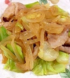 豚バラ肉の玉葱、キャベツの炒め物