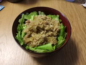 挽肉で作る焼肉(のタレ)丼