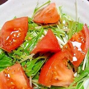 トマトと水菜の切るだけサラダ