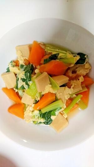 ほっこり味で栄養満点!小松菜入り高野豆腐の卵とじ