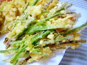 沖縄の味!島らっきょうの葉の天ぷら