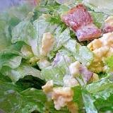 「炒り卵と厚切りベーコン入りレタスサラダ」  ♪♪