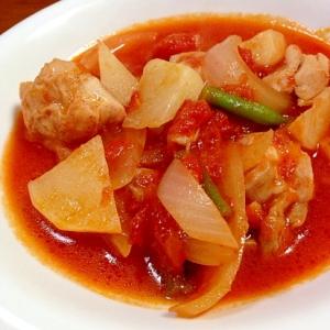 かぶと鶏もも肉のトマト煮込み