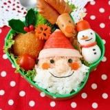 クリスマスキャラ弁!ふわふわ髭サンタおにぎり弁当