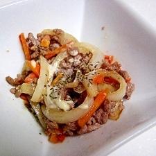 挽肉と野菜のバジルマヨ炒め