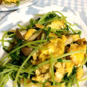 豆苗と卵のオイスターソース炒め