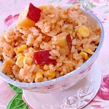 焼き肉のタレde❤美味しい薩摩芋コーンご飯❤