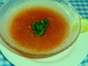 ひんやり、即席ガルパッチョ風おろしトマトスープ