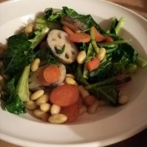 塩コショウの大豆野菜炒め