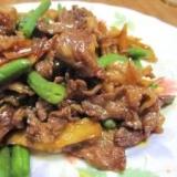 牛肉とごぼう・椎茸の甘辛炒め (我が家の味)