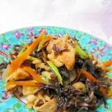 食物繊維たっぷり、豚肉と野菜、木耳の和風炒め