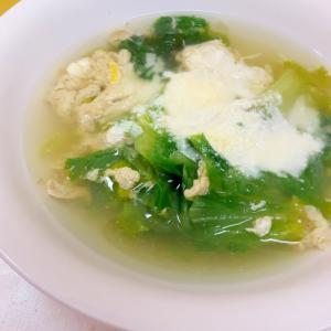 簡単!(^^)グリーンレタスのチーズ風味かき玉汁♪