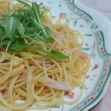 水菜とハムとメンマのパスタ☆