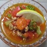 冷やしても美味しい!ゴーヤとトマトのそぼろスープ