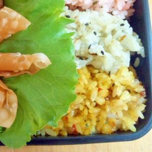 ドライカレー、高菜、梅干しの3色弁当