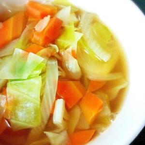 キャベツとにんじんと玉ねぎの具沢山コンソメスープ
