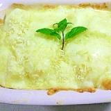 チーズをたっぷり入れて、ラ・フランスのオーブン焼き