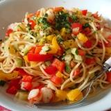 海老と3色野菜のパスタ