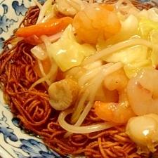 海鮮かた焼きそば バリバリ素麺で